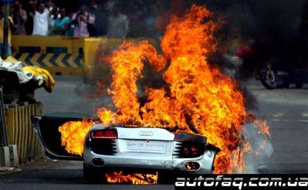 в Индии сгорела Audi R8